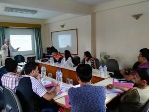 Ex-minister and Secretary Mr. Madhab Prasad Paudel interacting with trainees