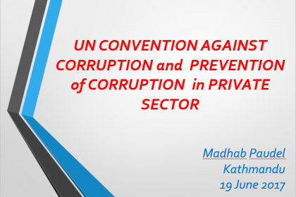 Promoting good governance in private sectors in line with UNCAC compliance – Madhab Prasad Paudel