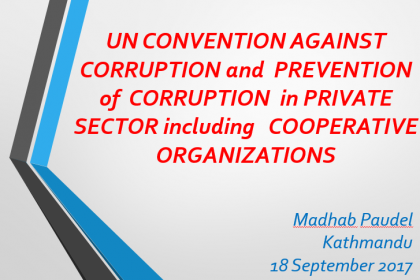Promoting good governance in cooperative sectors in line with UNCAC compliance – Madhab Prasad Paudel