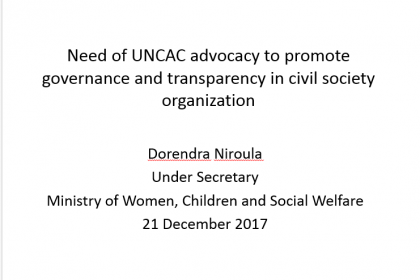 Need of UNCAC advocacy to promote governance in Civil Society Organization – Dorendra Niroula